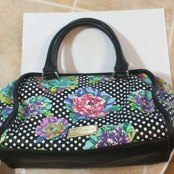 Betsey Johnson Handbags - BETSEY JOHNSON Purse Bag Floral Polka Dot Black